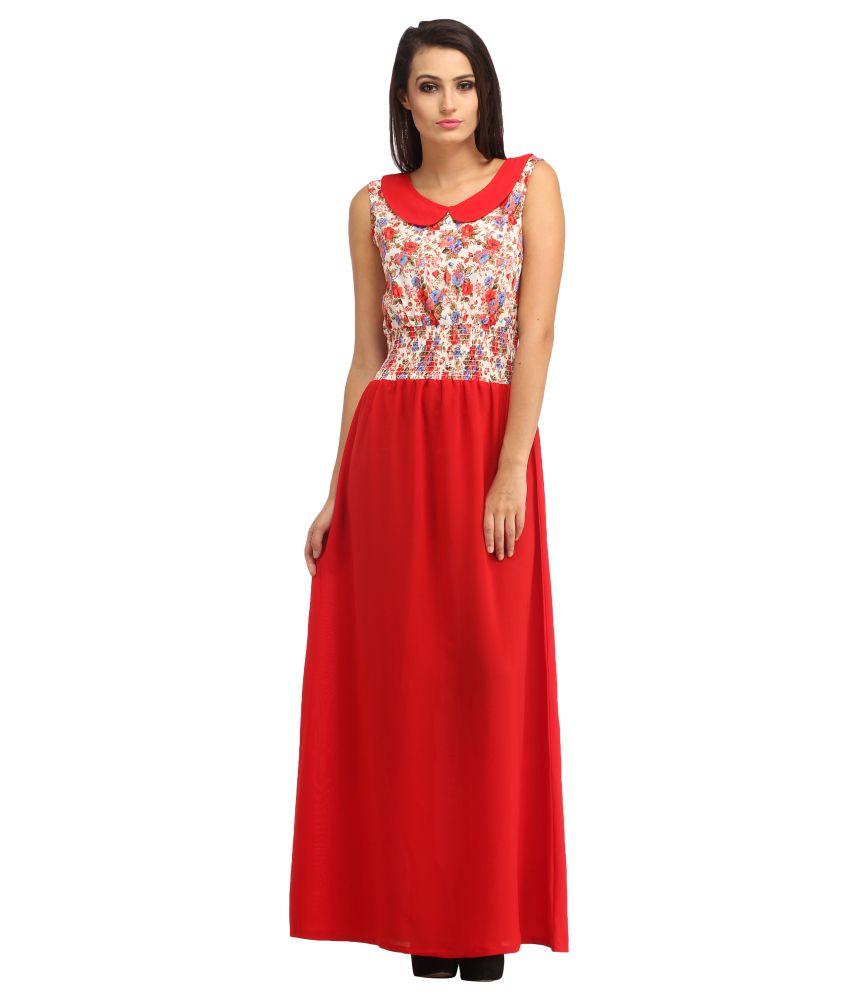 Cottinfab Red Poly Viscose Maxi Dress
