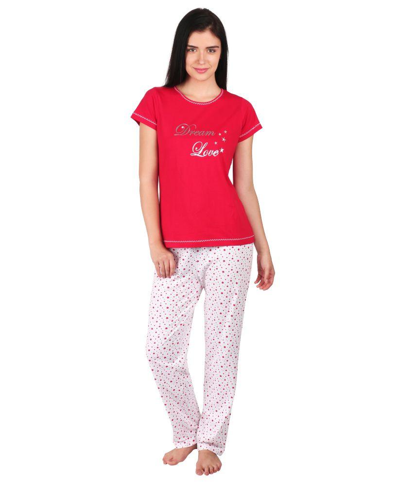 Lazy Dazy Red Cotton Nightsuit Sets