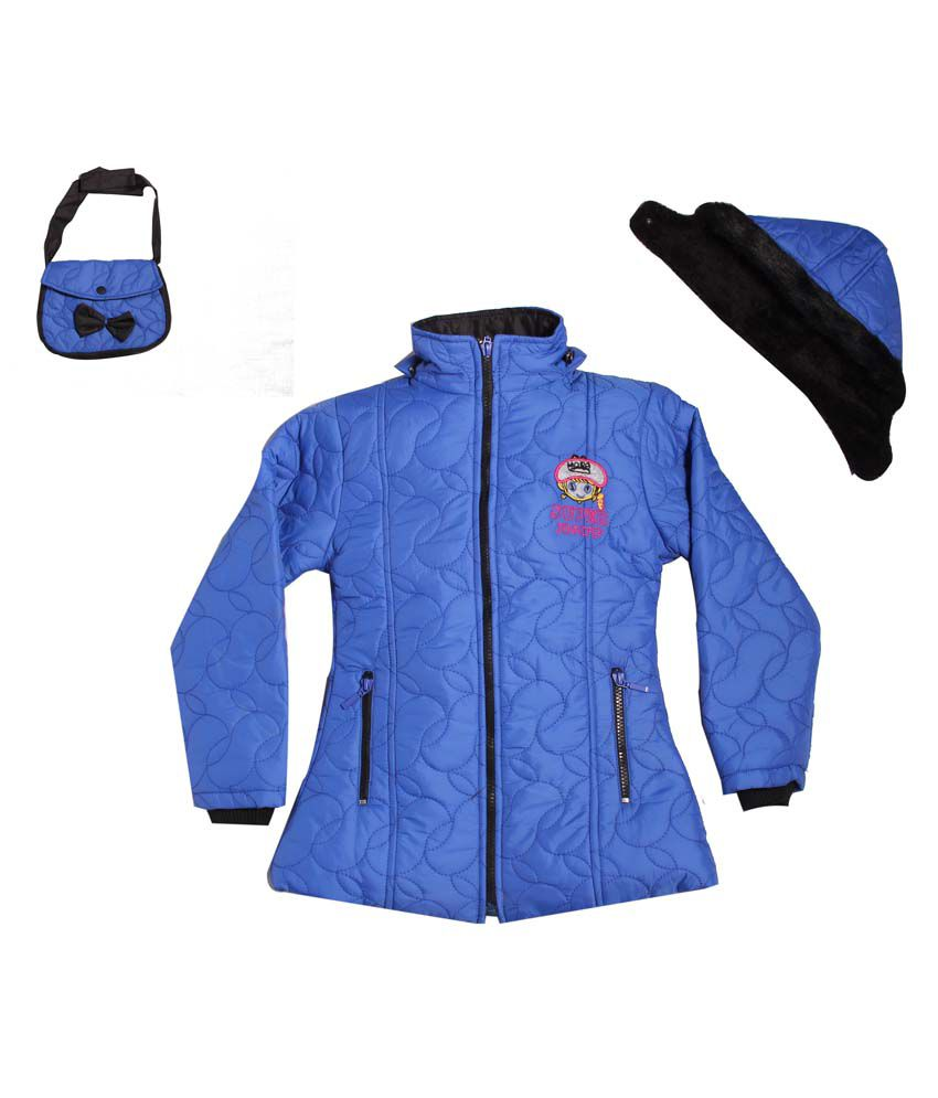 Yash Garments Blue Padded Jacket For Girls