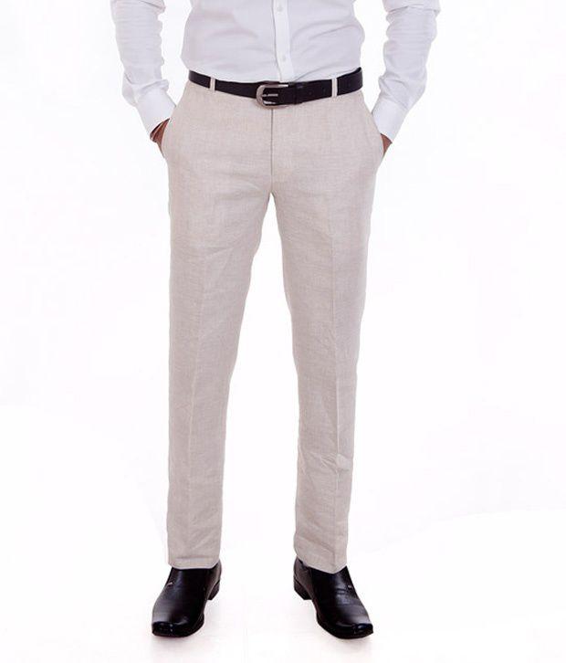 Granite Off-White Slim Fit Formals Flat Trouser