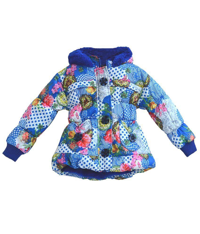 London Girl Blue Padded Jackets For Girls