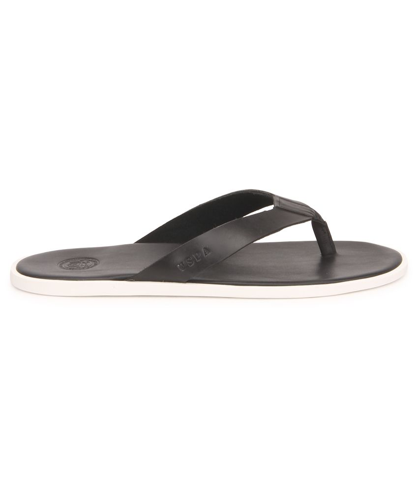 95100b44a0ac5c U.S. Polo Assn. Black Slippers Price in India- Buy U.S. Polo Assn ...
