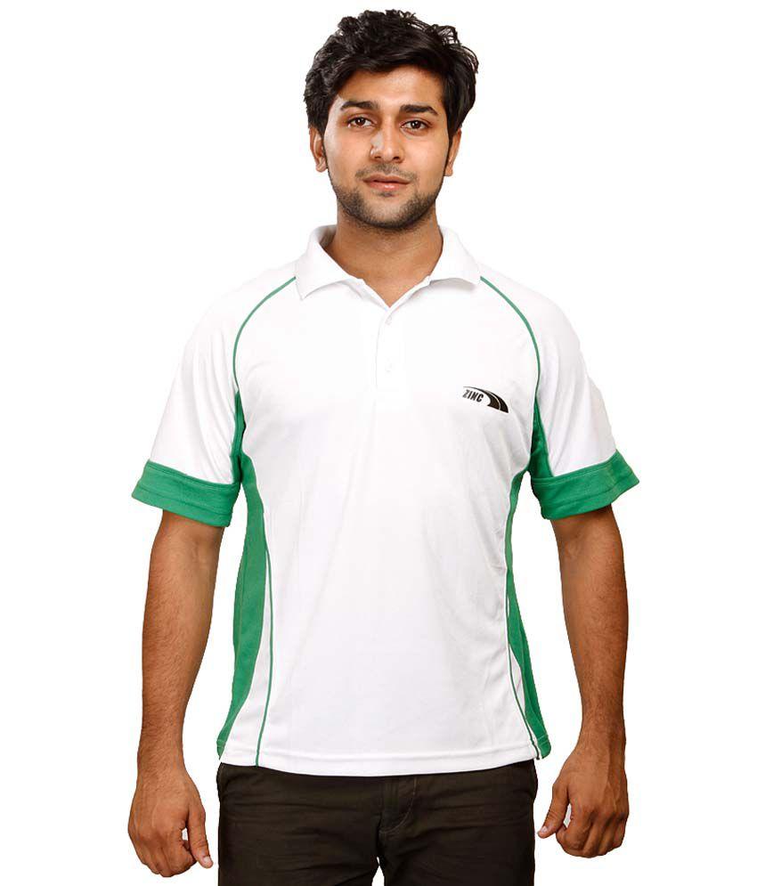 Zinc White Polyester Polo T-Shirt