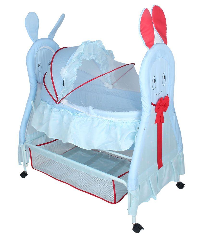 Fabseasons Blue & Red Baby Cradle