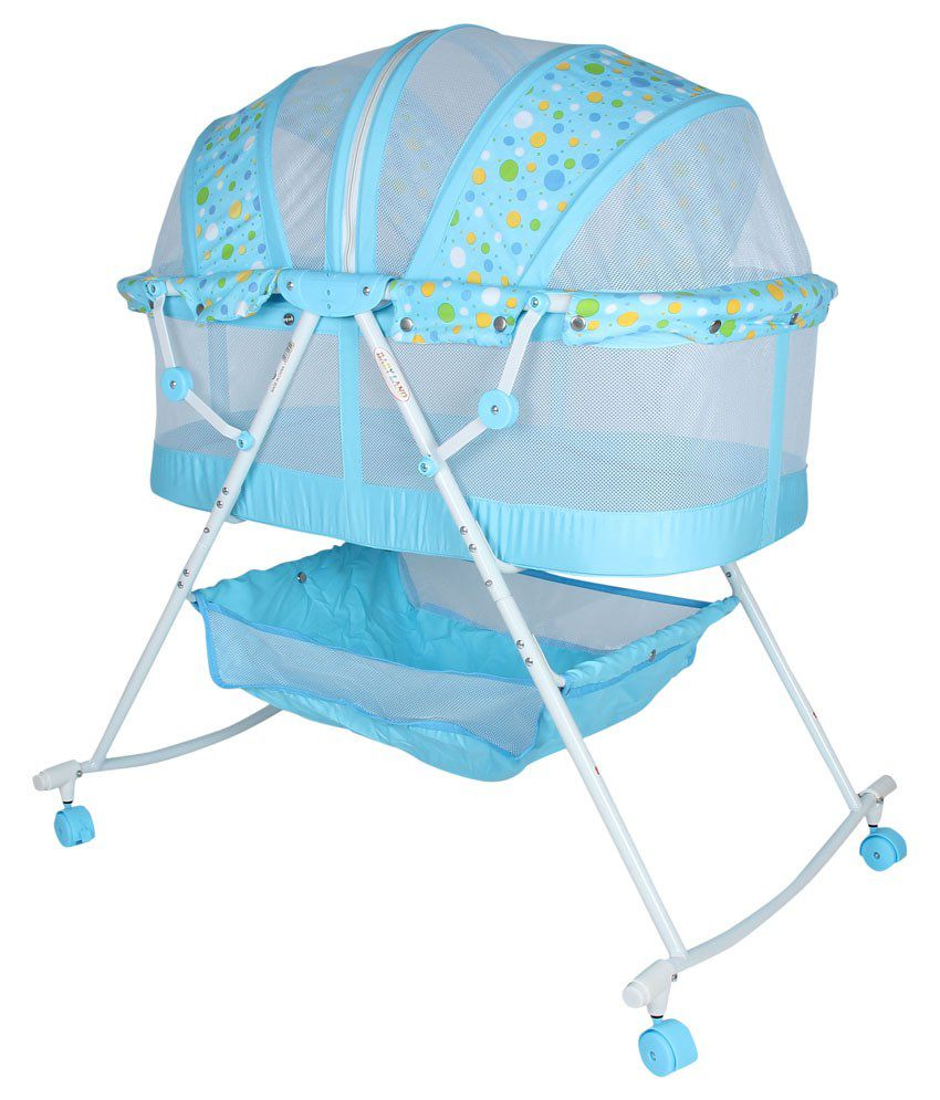 Fabseasons Blue & White Baby Cradle
