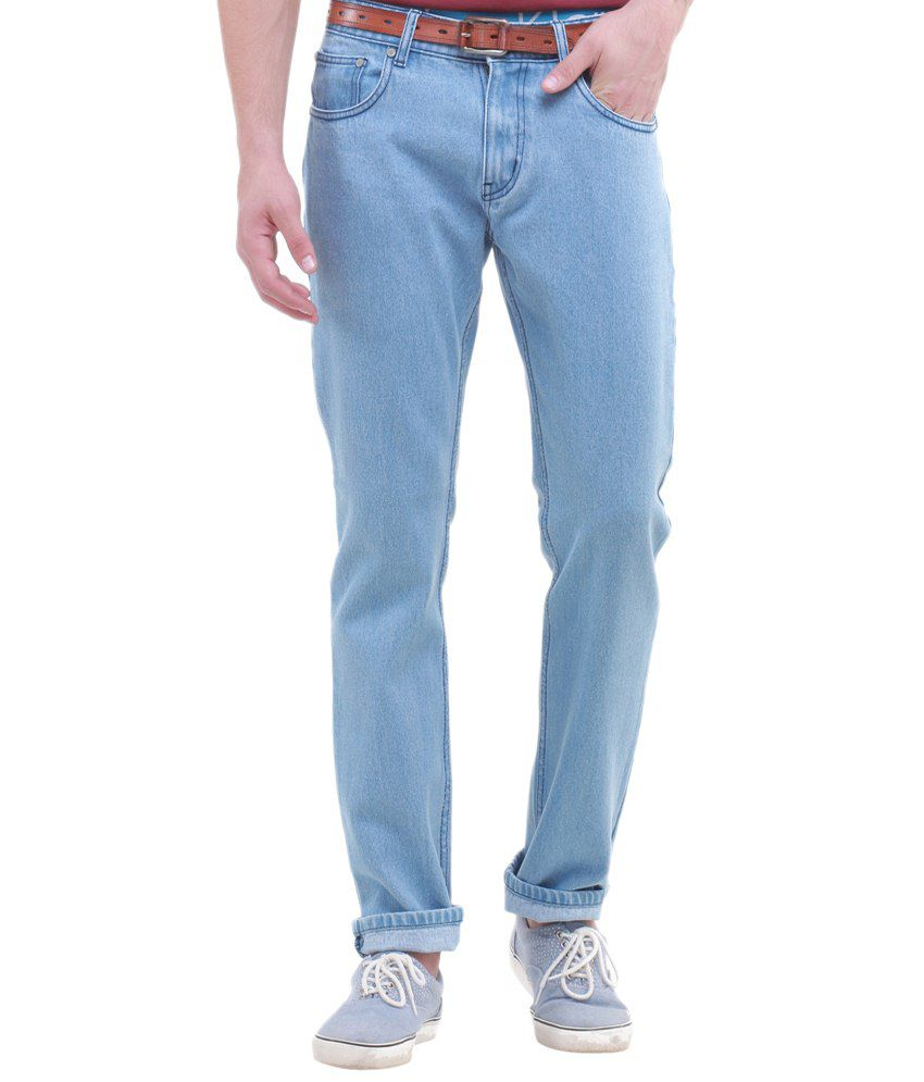 Jogur Blue Cotton Blend Regular Fit Jeans