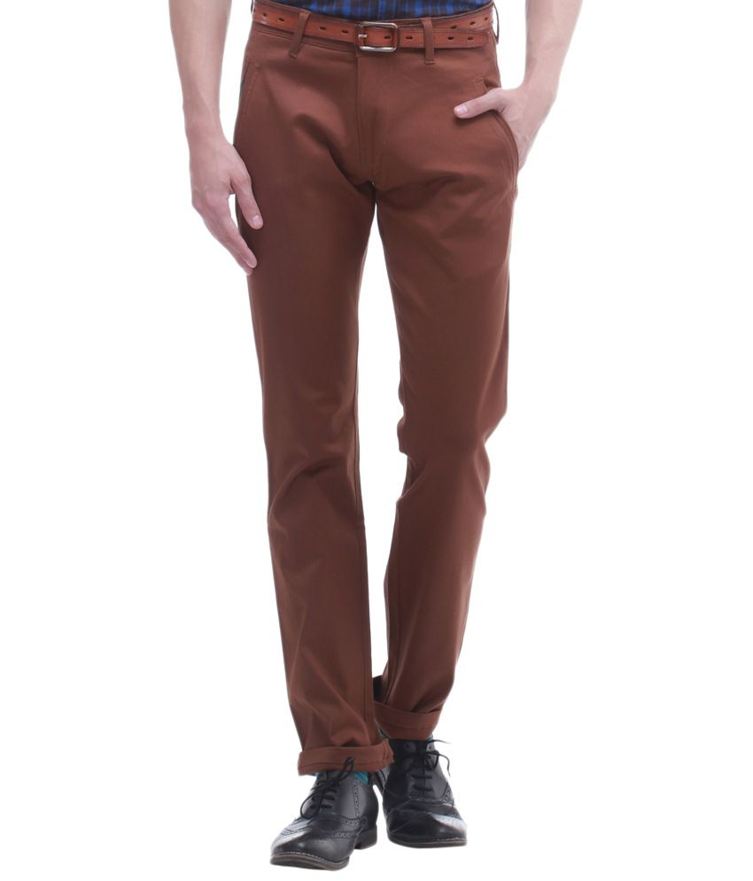 Jogur Brown Cotton Slim Fit Chinos
