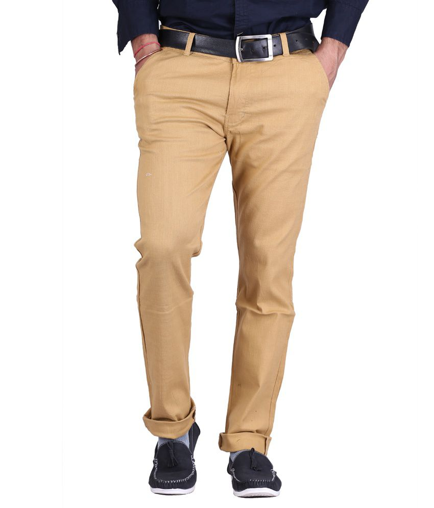 AVE Brown Slim Fit Formal Chinos