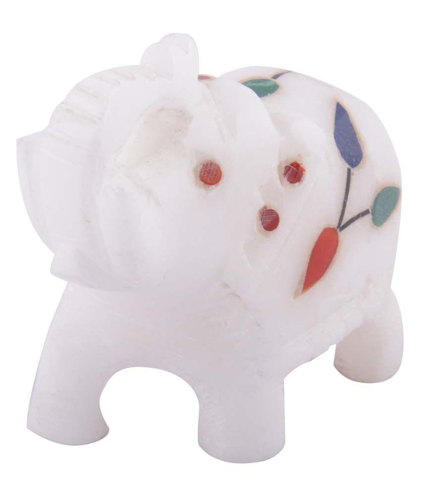 Curio Shop White Marble Inlaid Stoneware Color Stones Elephant