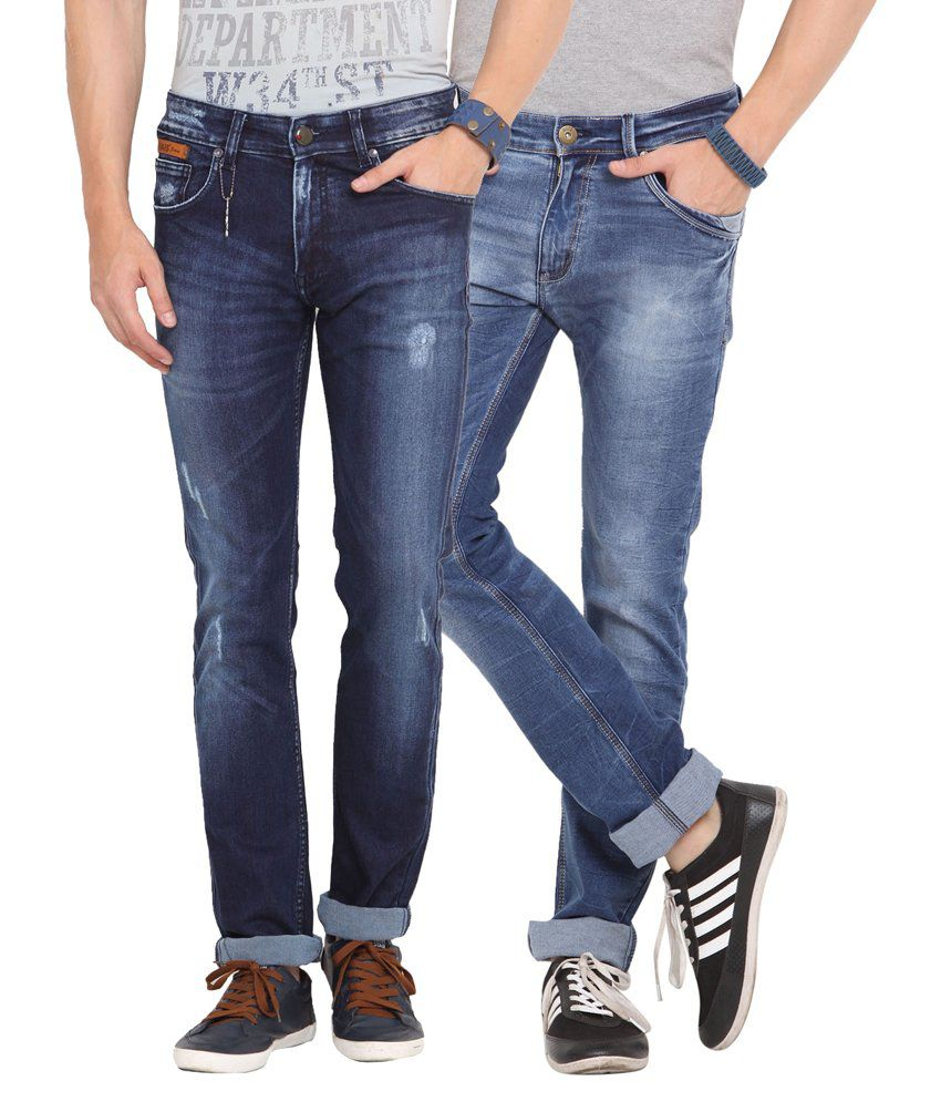 Dais Blue Slim Fit Jeans - Pack of 2