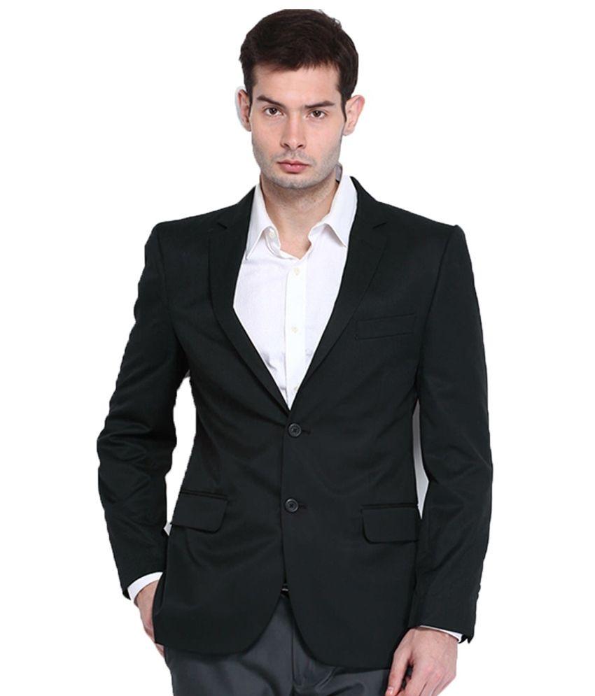 Menjestic Black Cotton Blend Formal Blazer