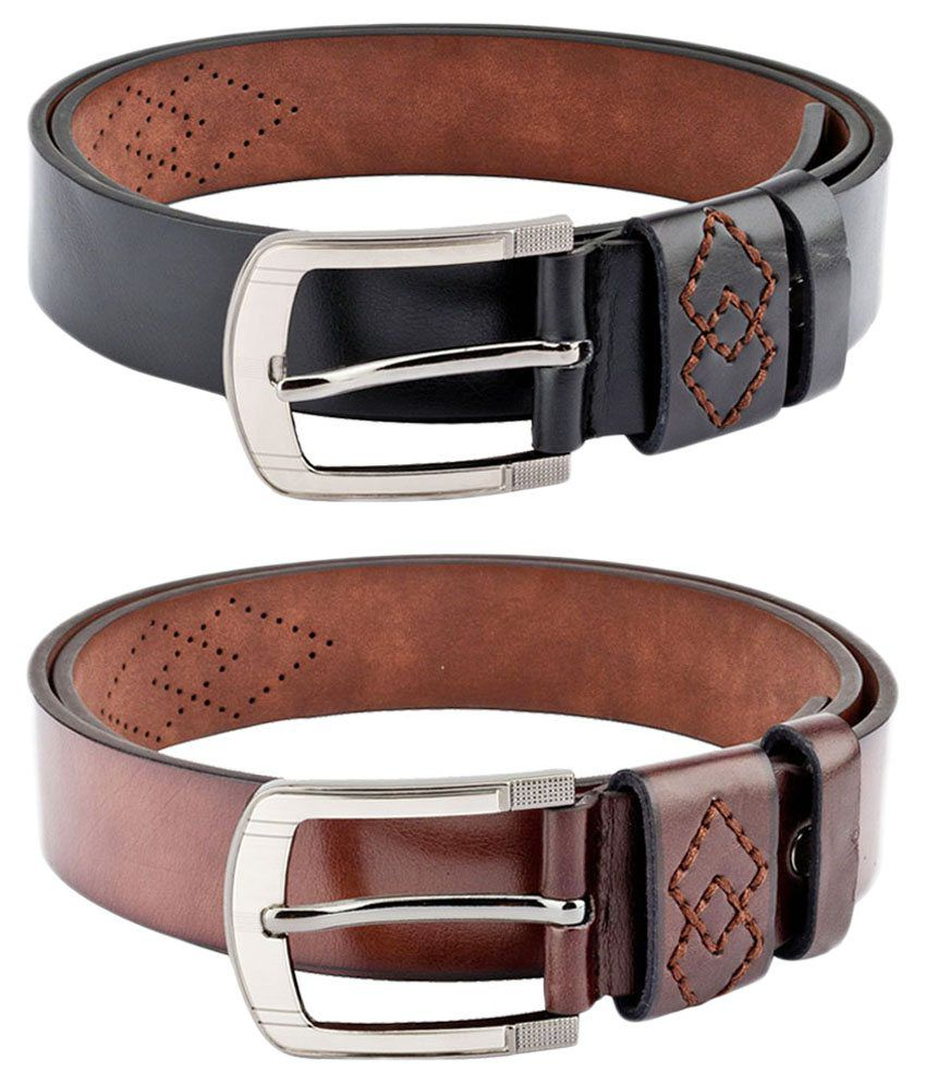 Swiss Design Black and Brown Leather Belt For Men - Combo of 2