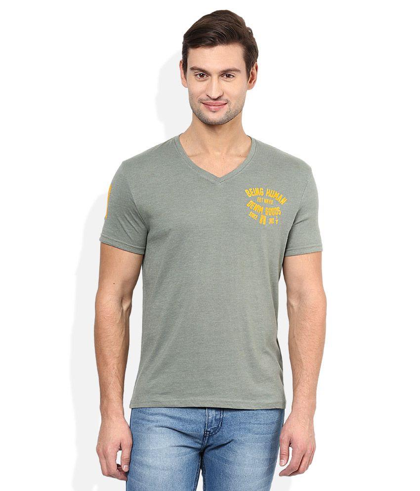 Being Human Green V-Neck Half SleevesT-Shirt