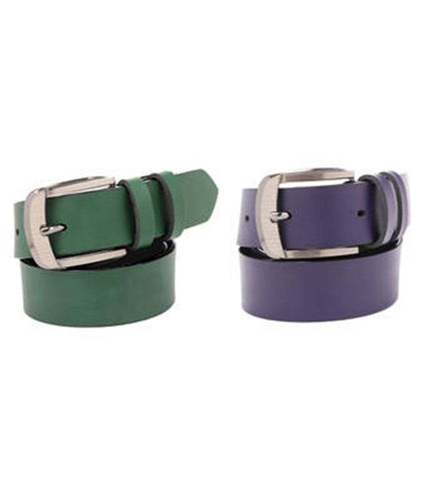 Daller Green and Purple Casual Belt for Men - Combo of 2