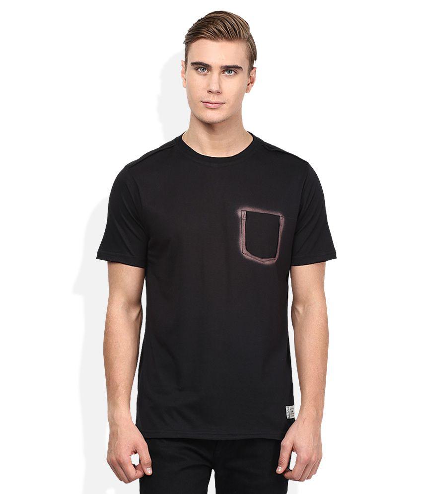 Spunk Black Round Neck Half Sleeves Solids T-Shirt