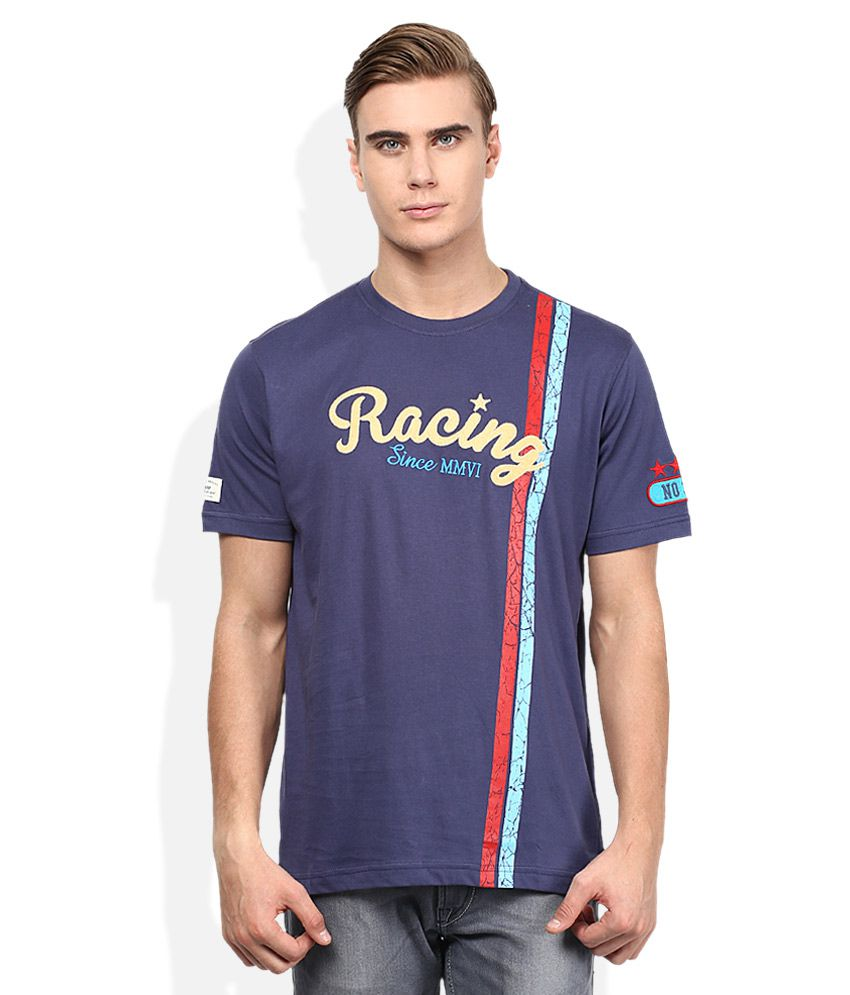 Spunk Navy Round Neck Half Sleeves Solids T-Shirt