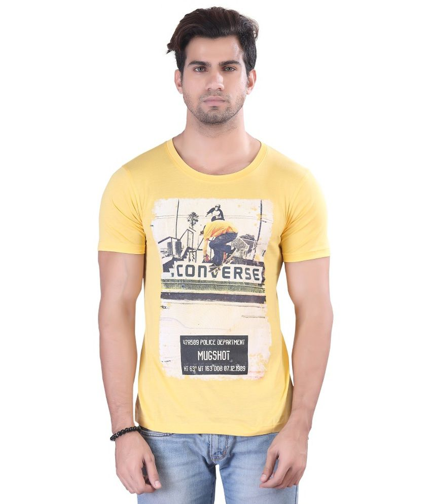 Contrast Yellow Cotton T Shirt