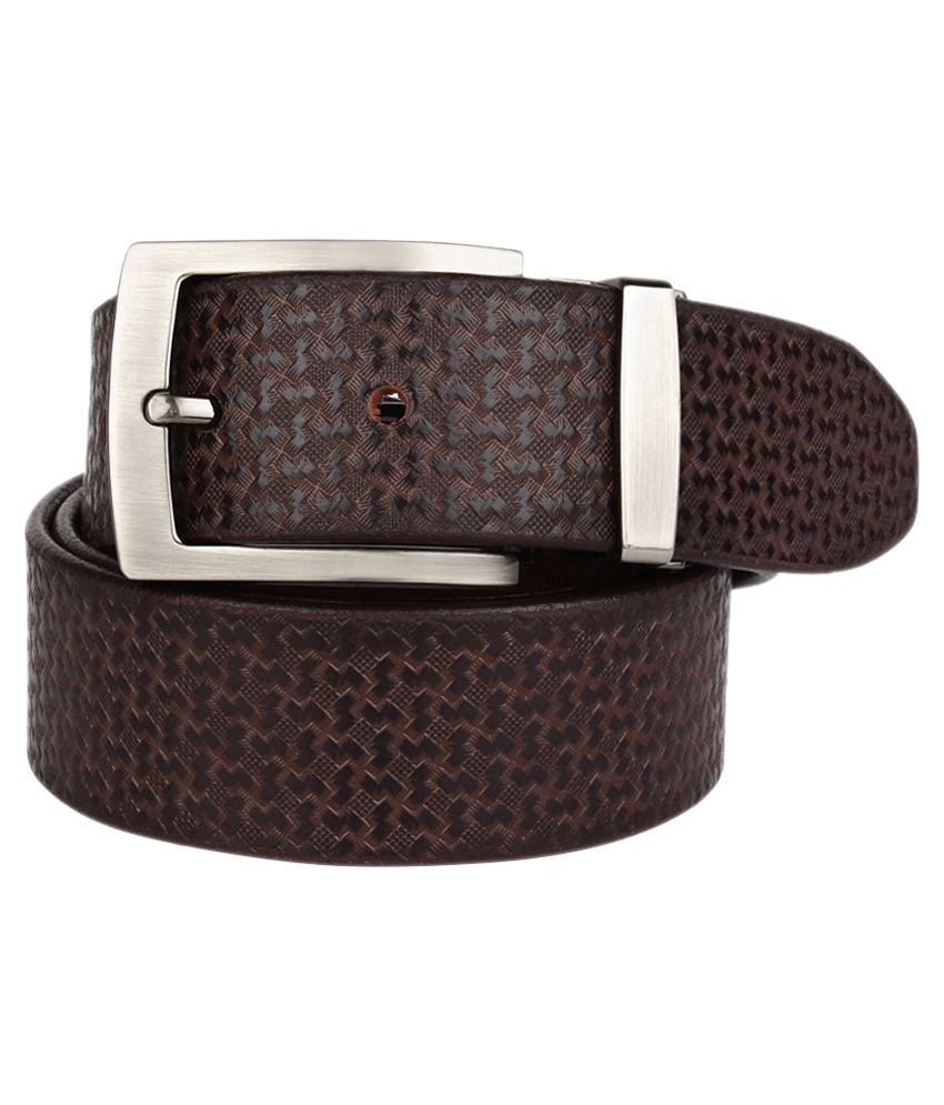 Coudre Brown Leather Casual Belt For Men