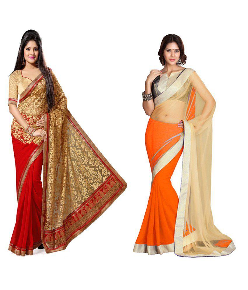 Indianefashion Designer Multi Net & Brasso Sarees Pack Of 2