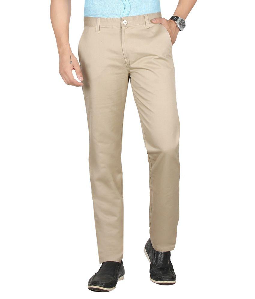 Librazo Khaki Slim Fit Formals Flat Trousers