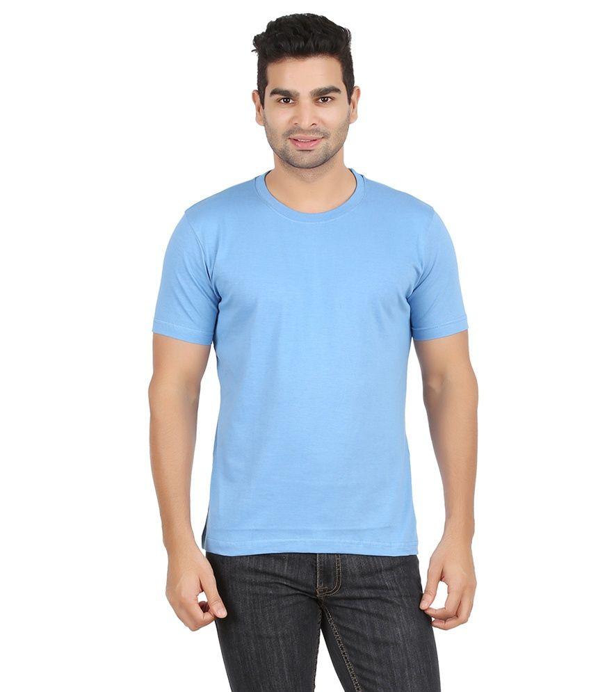 Alangar Blue Cotton T-shirt