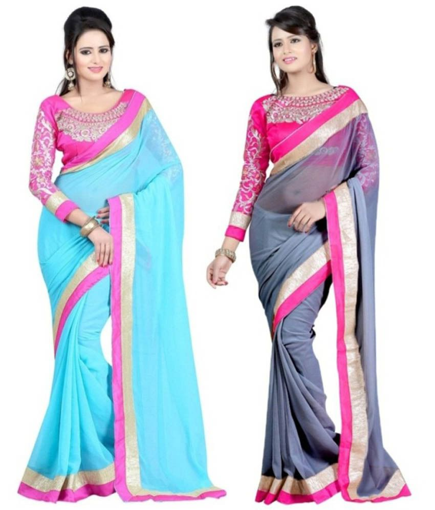 Fashion Designer Sarees Grey And Blue Faux Georgette Pack Of 2