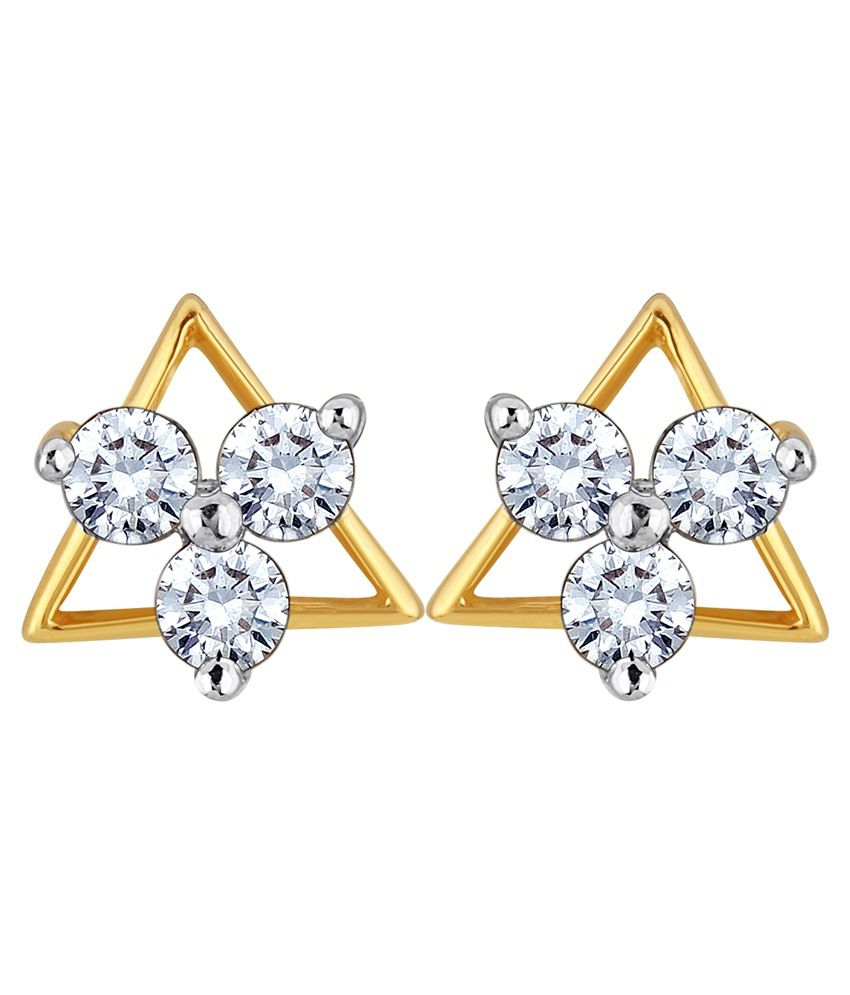 Myzevar Starstruck 18K Yellow Gold Plated Cubic Zirconia Sterling Silver Stud Earring