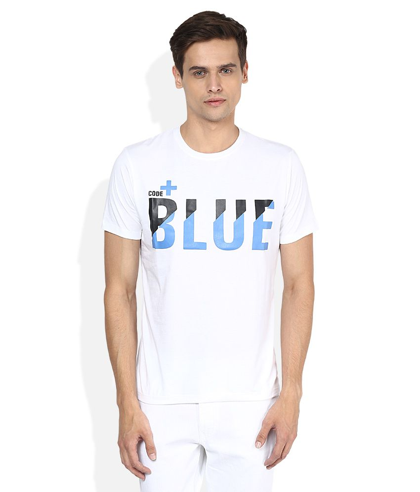Voi Jeans White Printed T-Shirt
