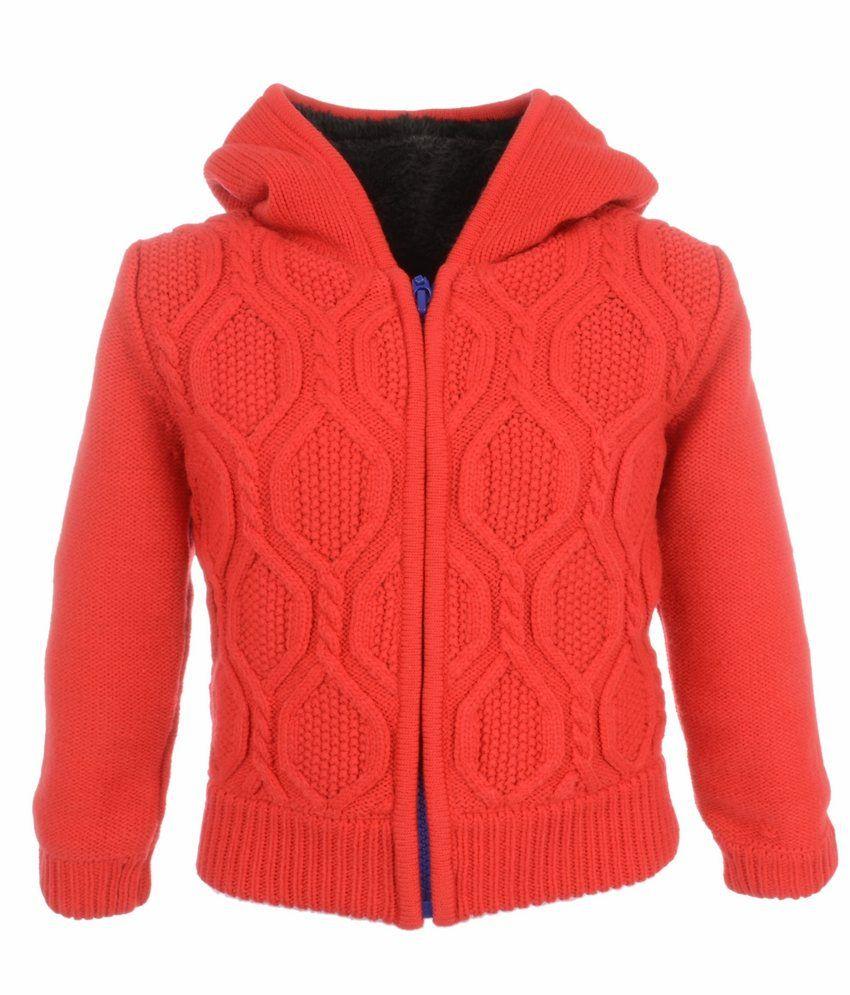 Yellow Apple Red Acrylic Full Sleeves Jacket With Hood