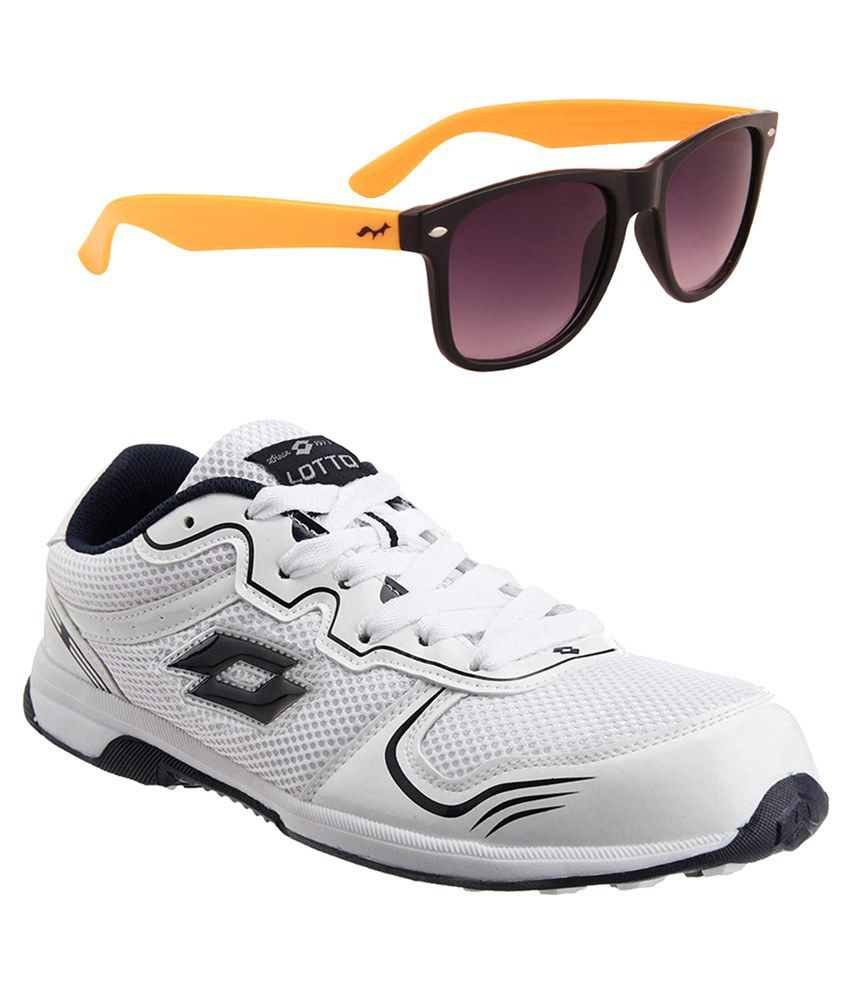 Lotto White & Black  Sports Shoes & Sunglasses Combo
