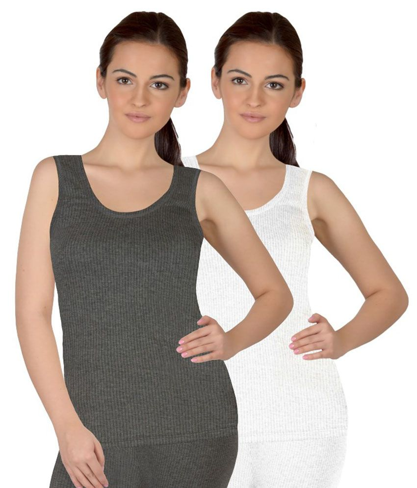 Selfcare Multicolour Girls Sleeveless Thermal Top Set Of 2