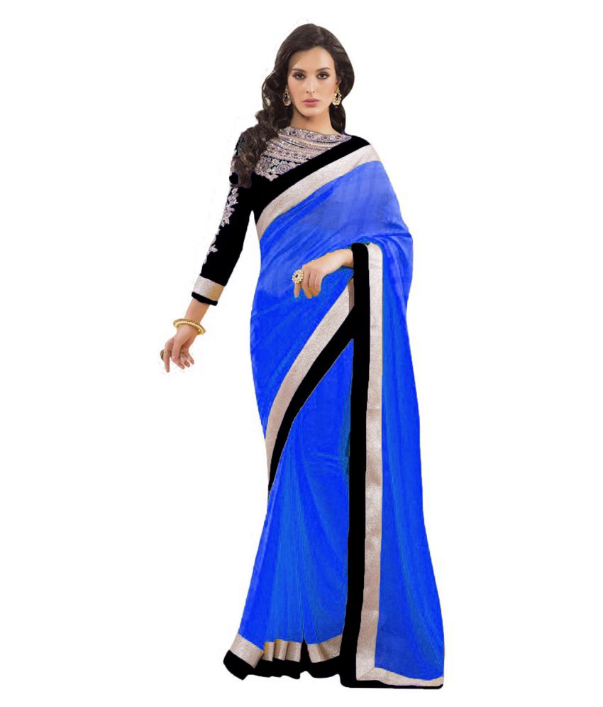 e197b6249664 Bollywood Designer Dazzling Royalblue Chiffon Saree With Black Border & Embroidered  Blouse - Buy Bollywood Designer Dazzling Royalblue Chiffon Saree With ...