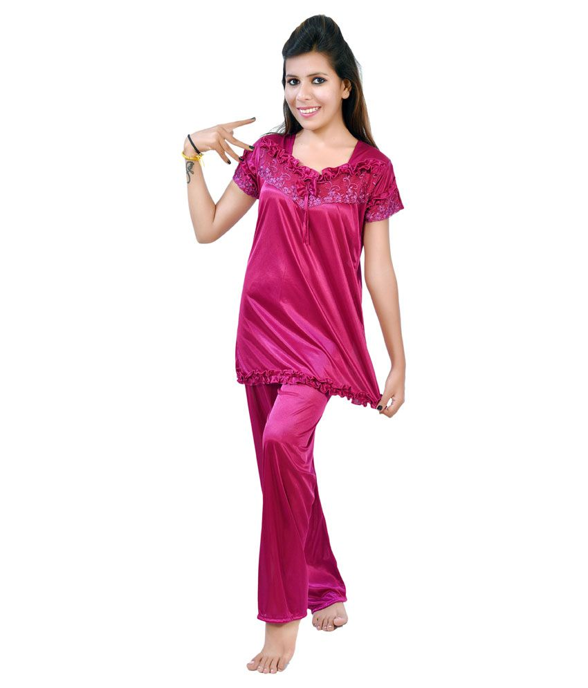 441e48042690d Fashion Zilla Maroon Net-Satin Nighty   Night Gowns Pack of 9 Price ...