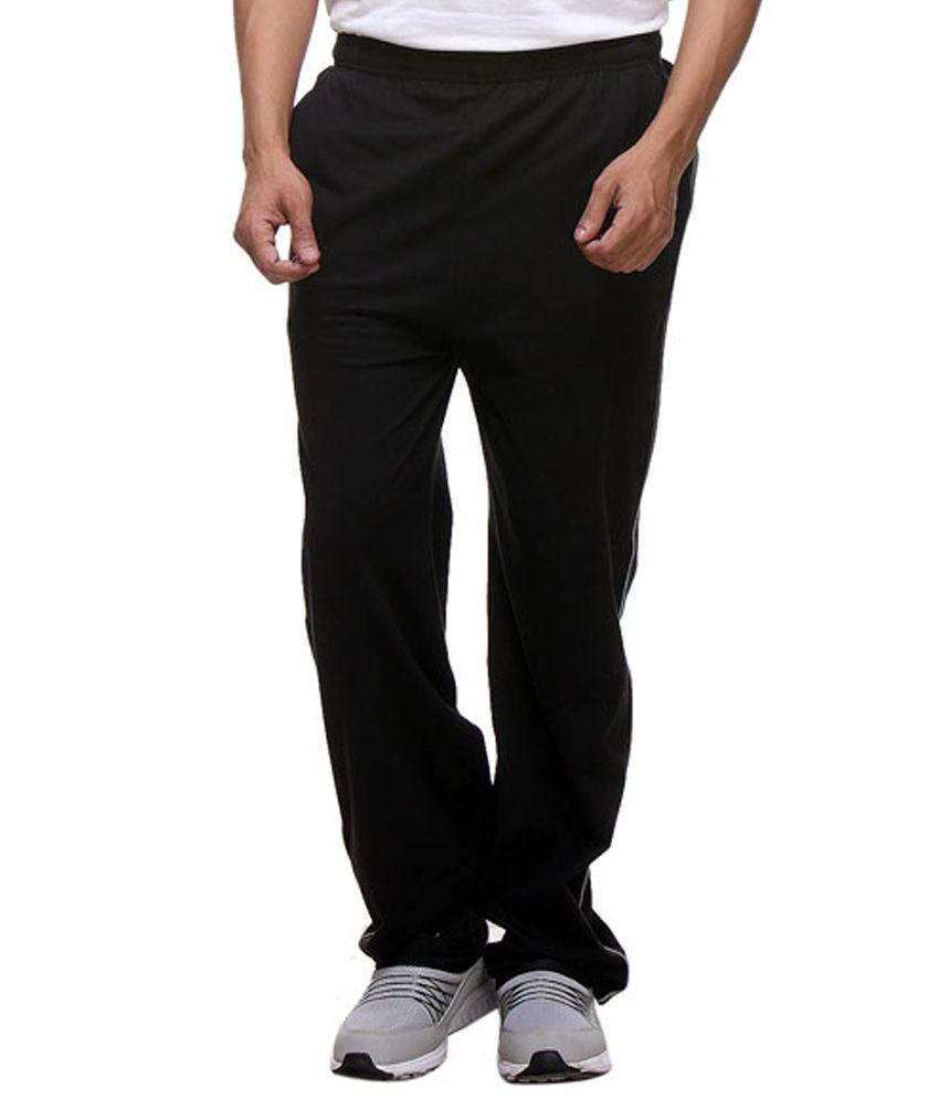 Purys Black Cotton Trackpants