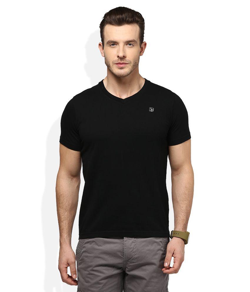 Woodland Black V-Neck T Shirt
