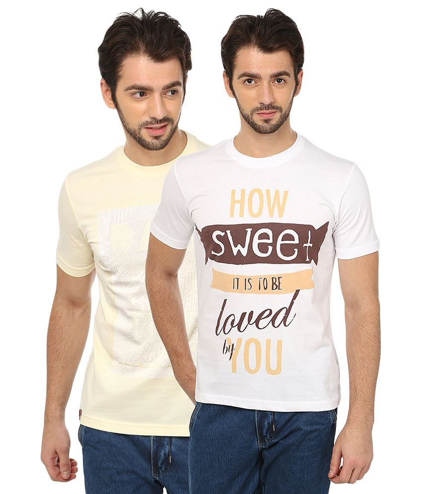 Date And Time Beige And White Cotton Blend T-Shirt - Pack Of 2