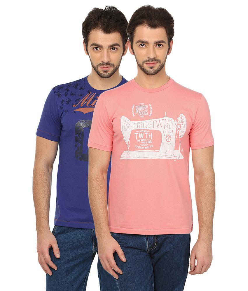 Date And Time Combo Of 2 Blue And Pink Round Neck T Shirts
