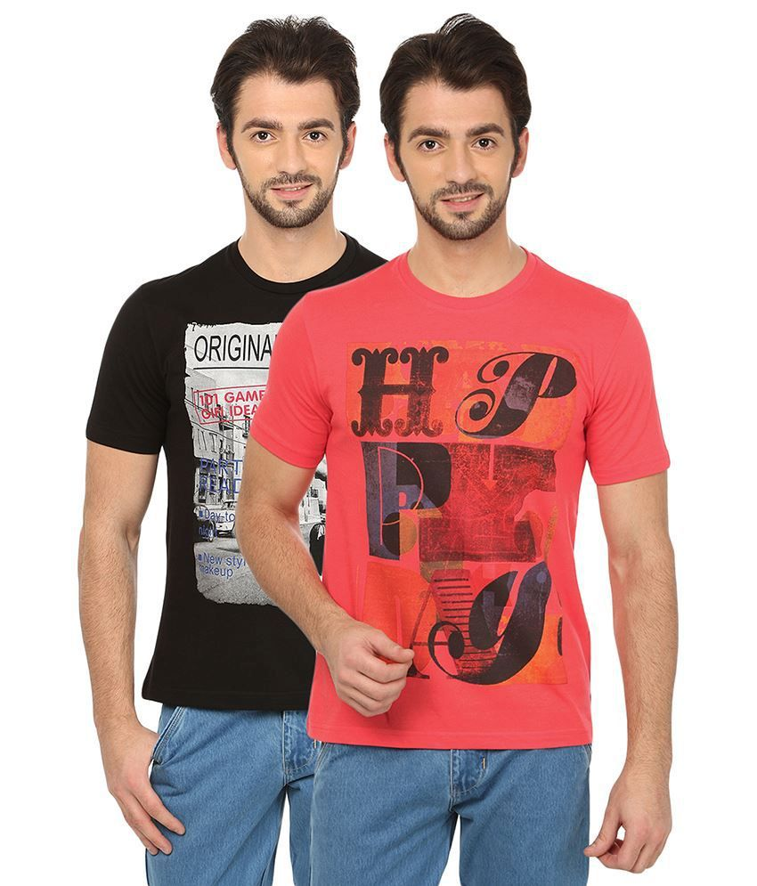 Date And Time Combo Of 2 Black & Pink Round Neck T Shirts