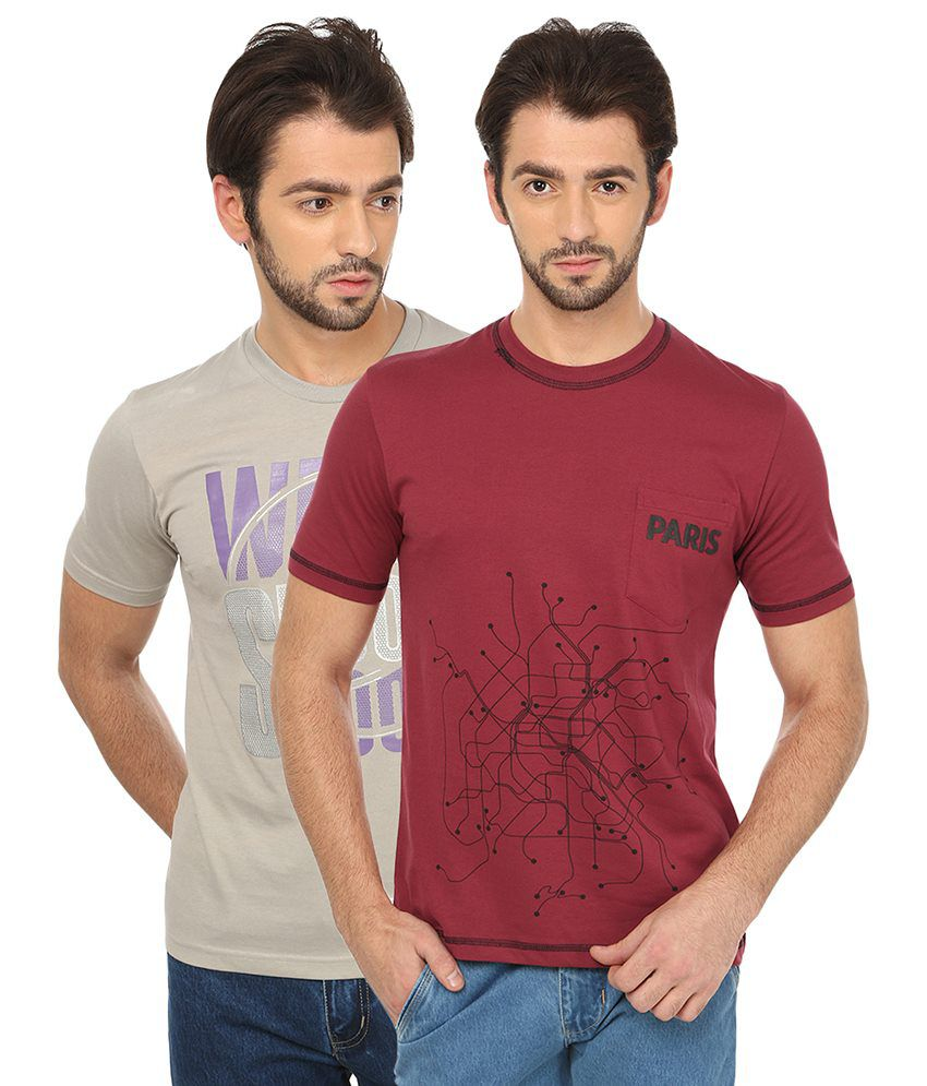 Date And Time Multicolor Cotton Blend T-shirt - Pack Of 2
