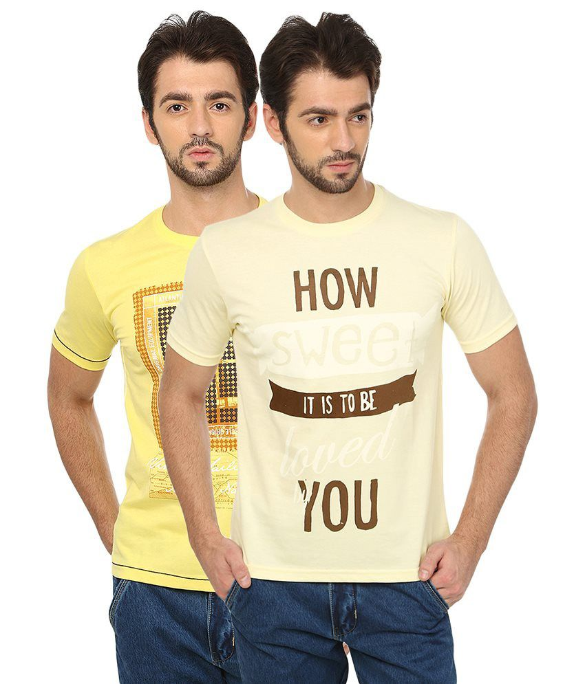 Date And Time Yellow And Beige Cotton Blend T-Shirt - Pack Of 2