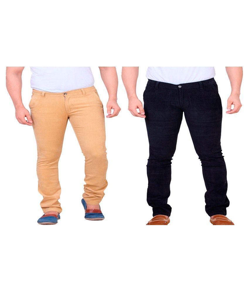 Private Image Orange & Black Slim Fit Casual Trouser Pack Of 2