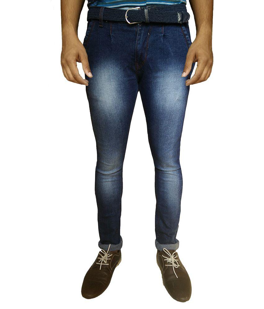 Oiin Blue Cotton Blend Slim Fit Jeans