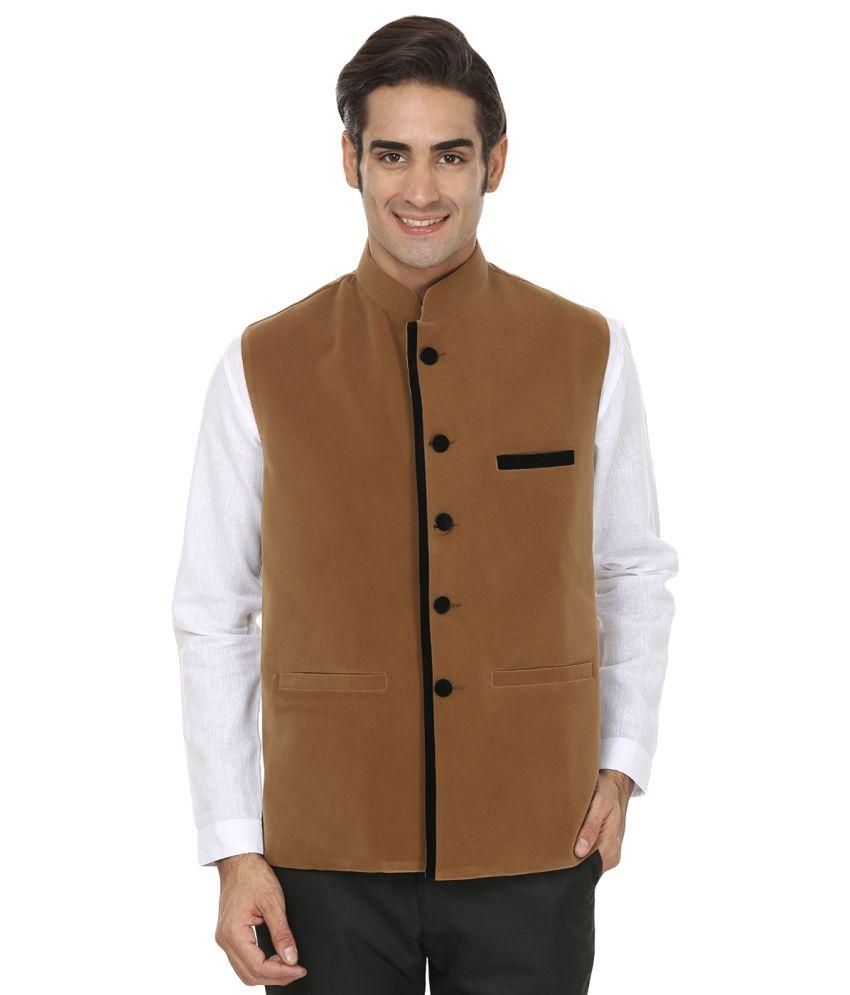 Wintage Festive Beige Rayon Waistcoat