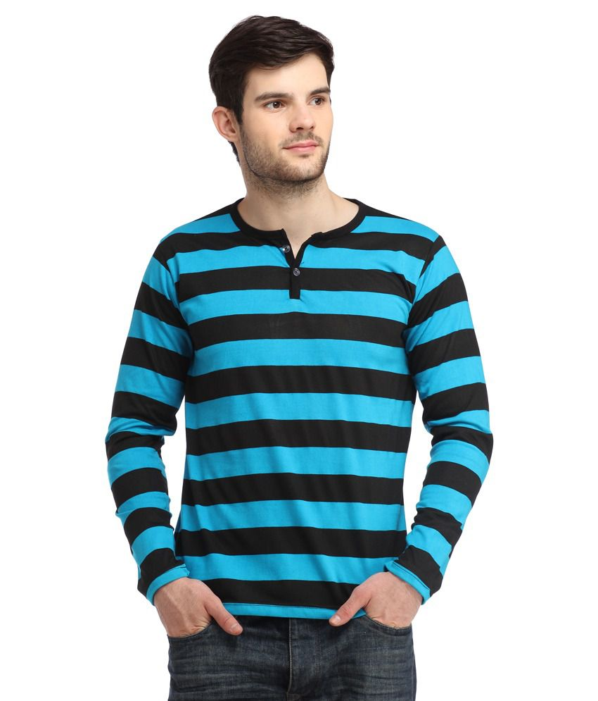 Big Idea Smart Turquoise Blue & Black Striped Henley T-shirt