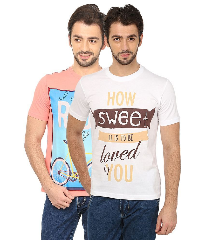 Date And Time Combo Of 2 Pink & White Round Neck T Shirts
