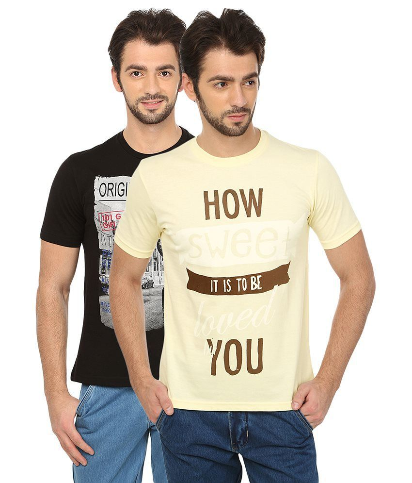 Date And Time Combo Of 2 Black & Beige Round Neck T Shirts