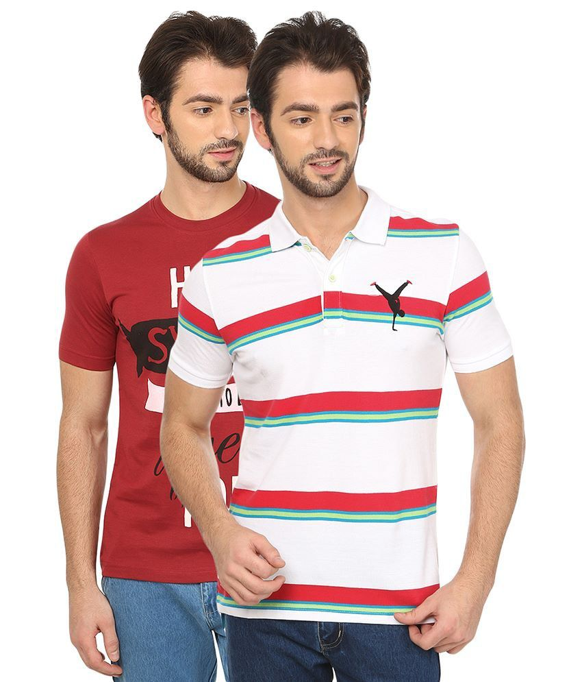 Date And Time Combo Of Maroon Cotton Blend T-Shirt And White Polo T-Shirt