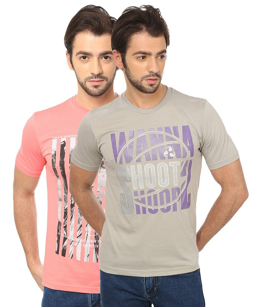 Date And Time Combo Of 2 Pink And Gray Round Neck T Shirts