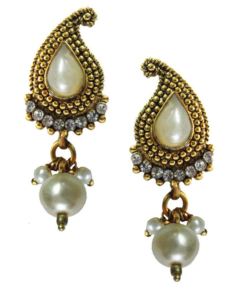 Pihu White Alloy Drop Earrings