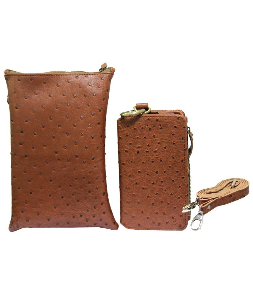 Jo Jo Wallet Case With Sling Bag For Alcatel One Touch Pop 2 (5) Premium Edition - Brown